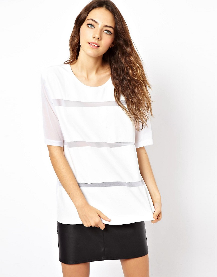 ASOS White Mesh T-Shirt with PU Stripe