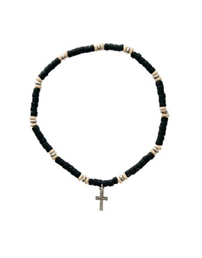 Image 1 of ASOS Beaded Cross Necklace