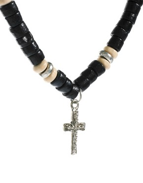 Image 3 of ASOS Beaded Cross Necklace