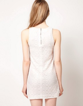 Image 2 ofWarehouse Metallic Lace Shift Dress