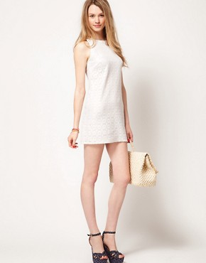 Image 4 ofWarehouse Metallic Lace Shift Dress