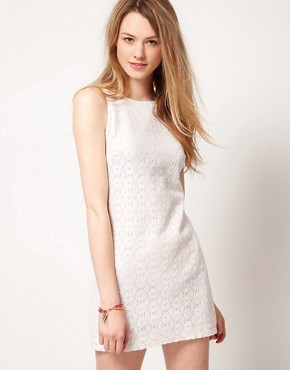 Image 1 ofWarehouse Metallic Lace Shift Dress