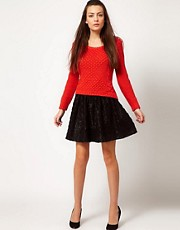 Selected Honna Textured Polka Dot Skirt