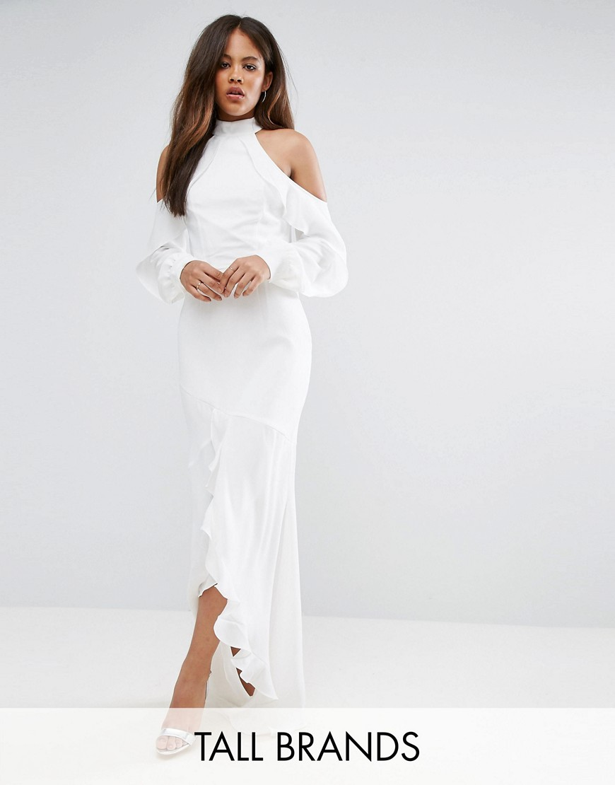 TTYA BLACK Visalo High Neck Long Sleeve Ruffle Detail Maxi Dress - White