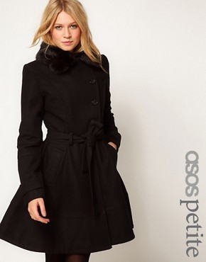 Image 1 ofASOS PETITE Fur Collar Fit And Flare Coat