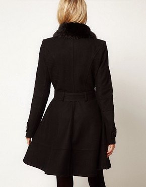 Image 2 ofASOS PETITE Fur Collar Fit And Flare Coat