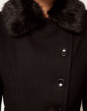 Image 3 ofASOS PETITE Fur Collar Fit And Flare Coat