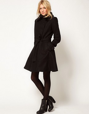 Image 4 of ASOS PETITE Fur Collar Fit And Flare Coat