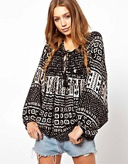 Denim &amp; Supply Printed Peasant Top