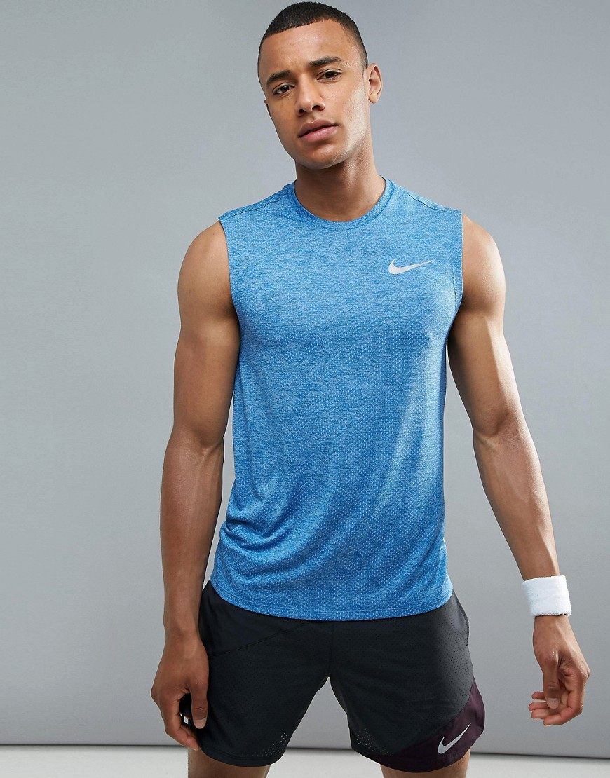 Nike Running Breath Miler Vest In Blue 904314-465 - Blue