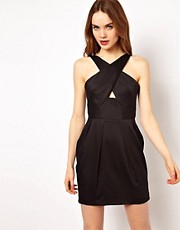 French Connection Cross Front Halter Neck Dress