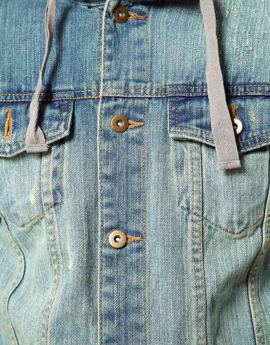 Image 3 ofAnother Influence Denim Jacket With Jersey Hood