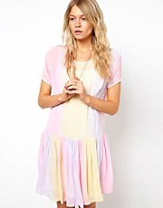 ASOS Smock Dress In Rainbow Tie Dye Print