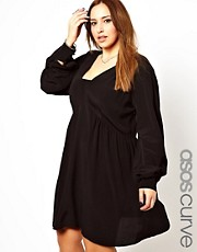 ASOS CURVE Smock Dress With V Neck