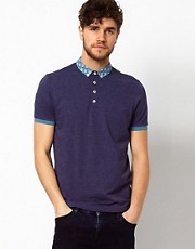 ASOS Polo With Patterned Woven Collar