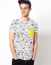 ASOS T-Shirt With Fluro Pocket And Splash Print