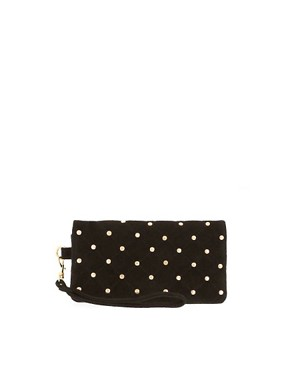 Image 1 ofASOS Leather Quilted &amp; Stud Purse