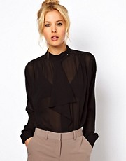 ASOS Blouse With Button Collar And Waterfall Neck