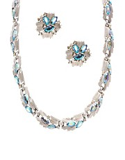 Vintage Trifari Silver Plated Aurora Borealis And Diamante Detail Necklace &amp; Earrings Set
