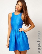 ASOS PETITE Exclusive Tulip Dress In Textured Stripe
