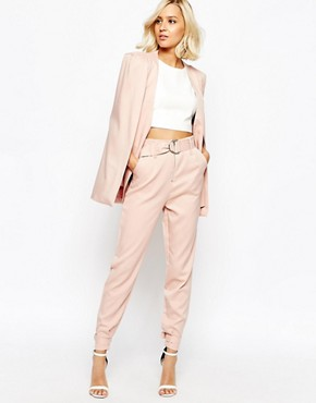 Lavish Alice Tapered Leg Trousers with D-Ring Belt & Cuff