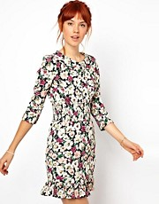 Ganni Floral Dress with Gathered Waist and Collar
