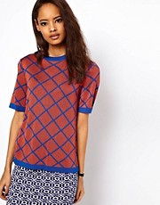 ASOS Knitted Tee In Diamond Jacquard