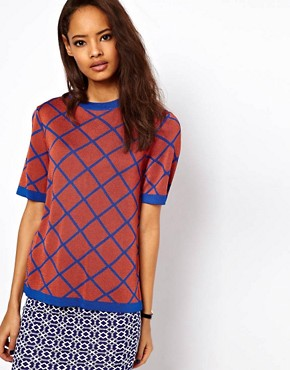 Image 1 of ASOS Knitted Tee In Diamond Jacquard