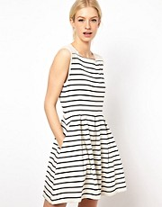 Boutique by Jaeger Bretton Stripe Dress with Broderie Shoulders