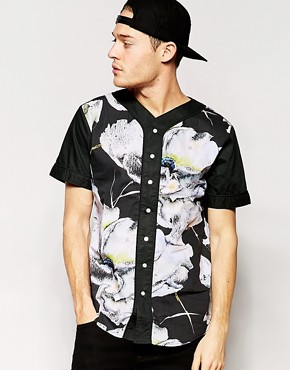 Standard Issue Baseball Shirt with All Over Large Floral Sublimation Print