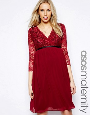 ASOS Maternity Exclusive Wrap Lace and Chiffon Midi Dress