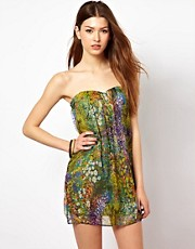 Traffic People Floral Silk Bandeau Dress