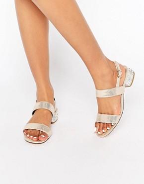 Dune Ninah Gold Mid Jewel Heel Sandals