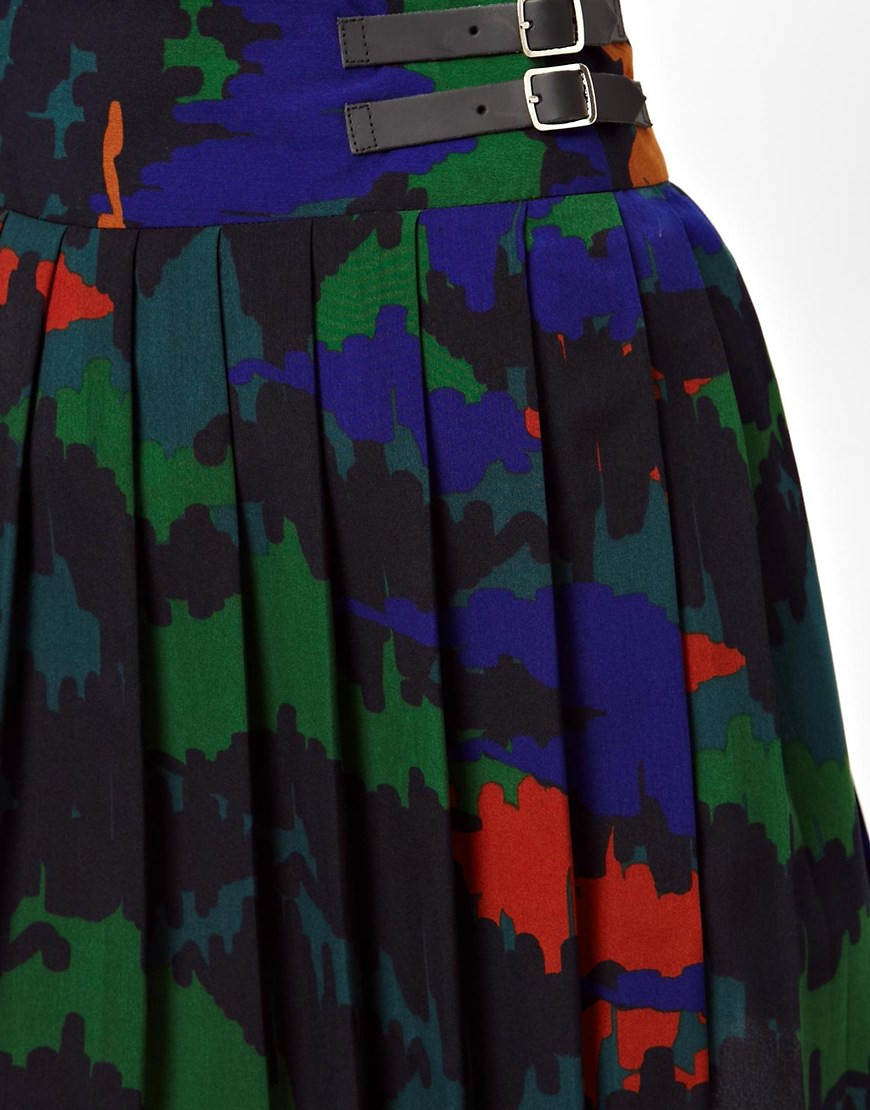 Image 3 of ASOS Pleated Kilt in Camo Print