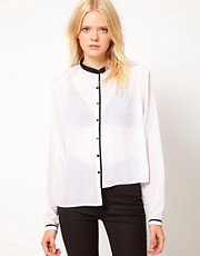 Just Female Mini Collar Contrast Shirt