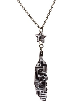 Image 4 ofMaggie Angus Aztec Tribal Feather Necklace