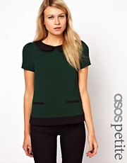 ASOS PETITE Exclusive Top With Contrast Collar and Hem