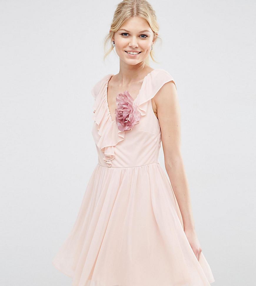 Платье мини с оборкой и V-образным вырезом ASOS PETITE - Розовый