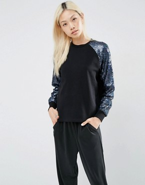 ASOS Sequin Sleeve Sweatshirt