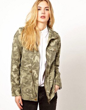 Image 1 ofVila Camo Jacket with Drawstring Waist