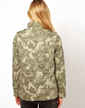 Image 2 of Vila Camo Jacket with Drawstring Waist