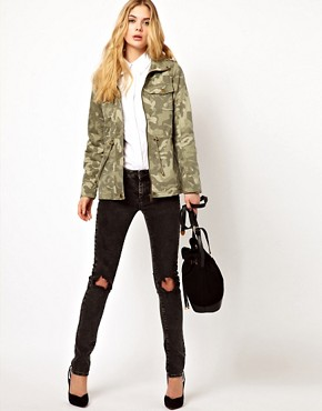 Image 4 of Vila Camo Jacket with Drawstring Waist