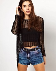 ASOS Crochet Stitch Dip Back Jumper