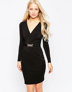 Lipsy Plunge Bodycon Dress With Belt