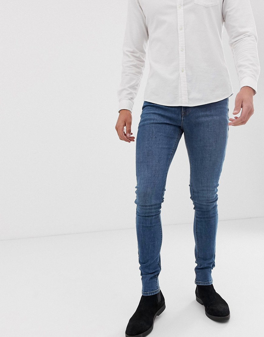 ASOS Super Skinny Jeans In Mid Blue - Mid blue