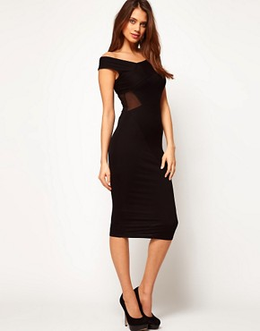 Image 1 ofASOS Off Shoulder Midi Dress With Sheer Detail