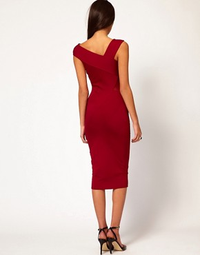 Image 2 ofASOS Off Shoulder Midi Dress With Sheer Detail
