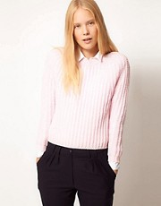 ASOS WHITE Jumper In Chunky Nylon Rib Knit