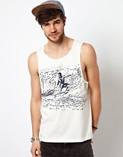 ASOS Tank With Surf Print And Slubby Jersey