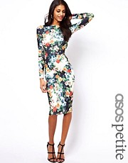 ASOS PETITE Exclusive Bodycon Dress In Floral Print